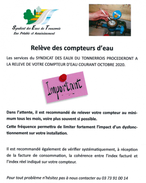 Releve des compteurs informations habitants 1